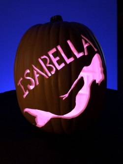 Hand carved custom pumpkin with mermaid