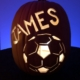Hand carved custom pumpkin with soccer ball