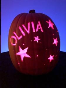 Hand carved custom pumpkin with stars