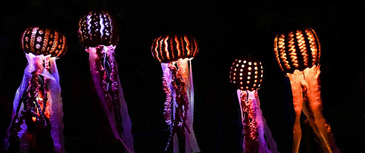 Illuminated constructed jellyfish during a Jack O' Lantern Journey