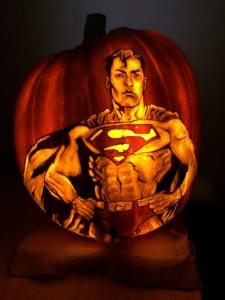 Superman carved on jack o' lantern