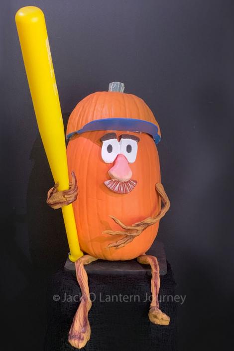 Pumpkin Baseball Player with Bat