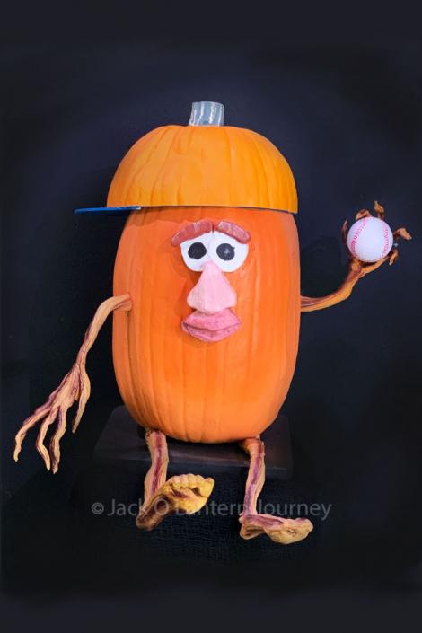 Pumpkin Baseball Player with Ball